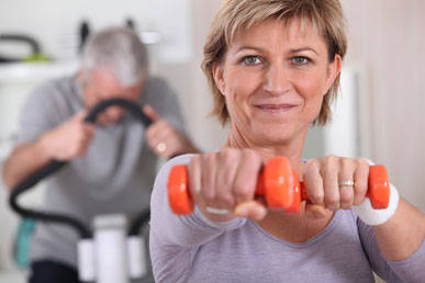 Senior couple in the gym. How to Self-Treat Osteopenia.